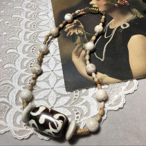 Vintage 80's Batik Bone Bead & Jasper Necklace